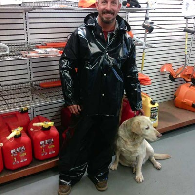 Loggers depend on this coat keeping them dry